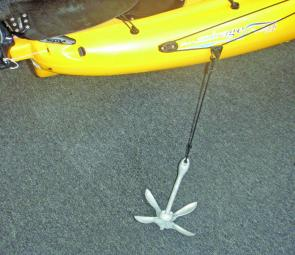 Anchor set-up on an Hobie anchor trolley system