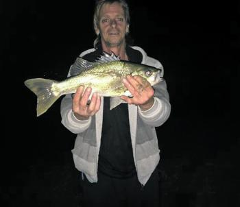 Paul Macfarlane recently caught this healthy tagged 45cm Australian bass from the shoreline at Blue Rock. The Drouin Angling Club held an event targeting the waters of the Baw Baw region and many nice bass were caught at Blue Rock for the event.