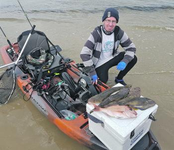 Alan Bonnici with a great morning catch from his kayak off Altona.