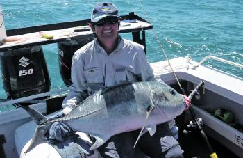 Helen Johnson from Bundaberg shows off the trevally that won her the 2017 NQ Sportfishing Championships Female Trophy Fish Award.