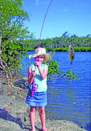 The rivers are clearing and Maddison proved that even a pink light rod with the right gear will bring in most fish. She hooked this Moses perch from Boyne River.
