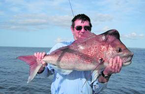 Local sportfishing legend Jeff Sorrell with a 95cm, 9.1kg snapper floatlined out of 90m from the Valhalla.