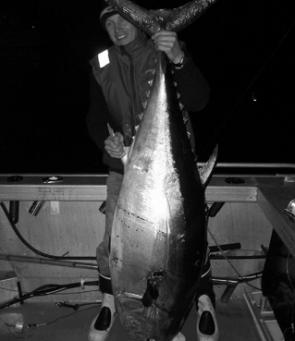 Ken Hines with his 70kg southern bluefin tuna (image courtesy Cameron Ordner).