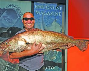 "Mike G with a 17.5kg Jewfish taken from the southern bay on a 4"" nuclear chicken minnow."