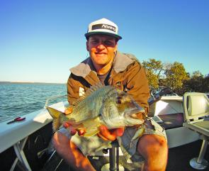 Trav Kloda with his PB bream at 40cm on a Jackall Chubby from Macleay Island.