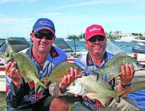 Michael Styles and Wayne Bale with part of their lovely catch form a recent Gamakatzu Bream Tournament in Port Macquarie.