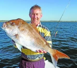 Paul Burke proving plastics are still snaring good snapper off Port Macquarie.