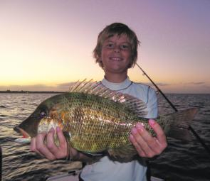 Sam Lineburg with a typical Hervey Bay grassy sweetlip taken just on dusk at Round Island.