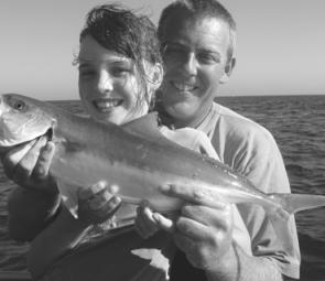 Chloe Flynn's first kingfish, with her Dad, Paul.