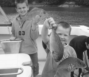 Blake and Bryce Lyons caught these snapper on a Bay of Islands in New Zealand while on a family holiday.