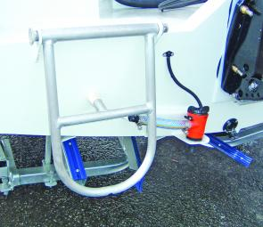 The fold down stern ladder makes for easy access on the trailer or from the water.