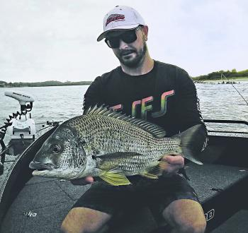 Jake Stewart with a big bream taken while chasing mulloway.