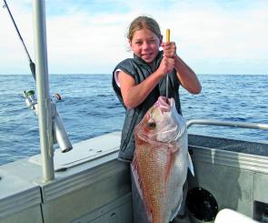With a couple of secret tips from the deckhand, this 10-year-old girl managed to hook-up and land this quality snapper all by herself, even while she was seasick! The jaws of all other fishers dropped to the floor.