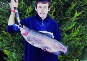 Brandon Spencer, 13 years old from Yarra Glen, recently caught this 3.2kg rainbow trout at Lilydale Lake. It took a coloured Wonder Wobbler and was one of eight trout Brandon caught in two days (photo: Shane Spencer).