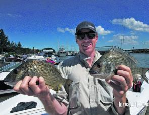 During the prefish session one winners, Team Lance, found fish on the south side of Wallis Island. The fish were located around weed edges in 4-6ft of water.