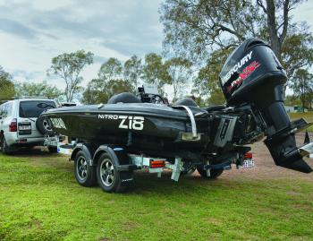There's no doubts that the Z18 will turn heads at the local boat ramp. Lee's kept a simple black gelcoat with flake that matches the Mercury OptiMax perfectly.