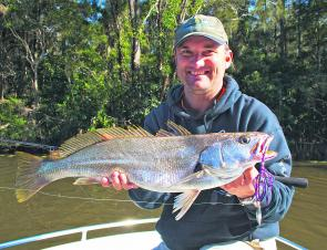 Craig Ainsworth bagged this mulloway while casting a spinnerbait around lily beds in the upper reaches of the Maria River.