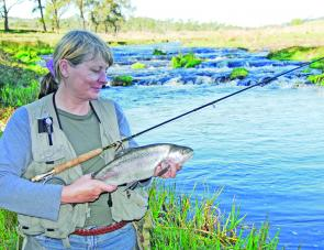 Denise Kampe took this fat Ebor rainbow on a 6wt Woolly Bugger.