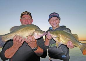 John Menhennet and Jock Mackenzie with a couple of good-sized golden perch caught just on dusk in the Kerang Lakes.