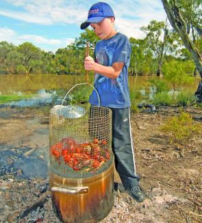 Jock Mackenzie salivates over a cage of yabbies cooked on the banks of the Murray.