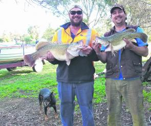 Justin Cain and Nick Kiely with a couple of cod caught before the close of the season while fishing with bardi grubs at Moama.