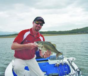 Chris Galligan shows the quality of the schooling bass of Lake Moogerah. Morning and afternoon will be the best times to try your luck.