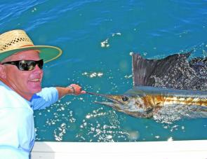 Steve Morley releases an early season sailfish.