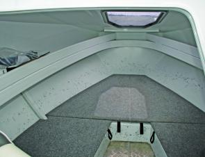 The cabin has loads of storage space and that large hatch provides excellent access to the anchoring arrangements.