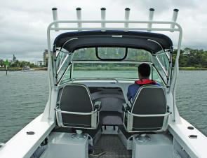 The cabin on the big Yellowfin is simple but very functional.